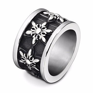 voordelige Heren Ring-Heren Gegraveerd Ring Titanium Staal Ster Statement Europees modieus Modieuze ringen Sieraden Zwart Voor Straat Club 6 / 7 / 8 / 9 / 10