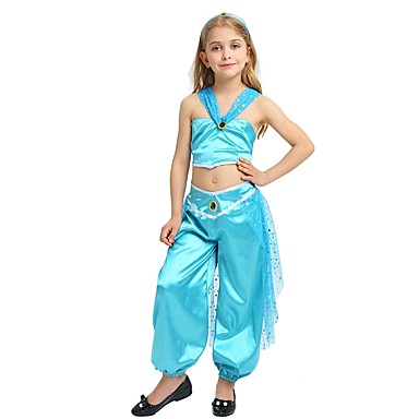 princess jasmine costume girls halloween carnival childrens day festival holiday halloween costumes outfits cyan