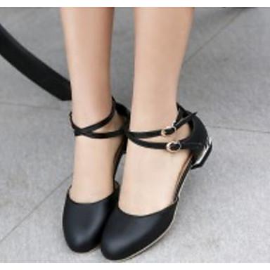 Otoño Zapatos Confort PU Primavera Bailarinas Bajo Mujer Tacón Negro Blanco 06830531 Rosa fZdtqwxq