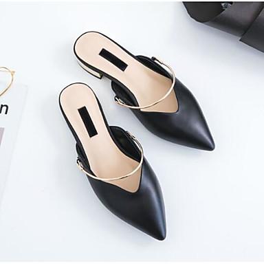 Bout Nappa Bottier Sabot Mules Chaussures 06833243 Talon amp; Vert fermé Cuir Printemps Noir Confort Blanc Femme Eté ABPRwxqU