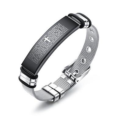 voordelige Armband-Heren Armbanden met ketting en sluiting Bangles ID-armband Schakelketting modieus Casual / Sporty Modieus Roestvast staal Armband sieraden Zilver Voor Lahja Dagelijks