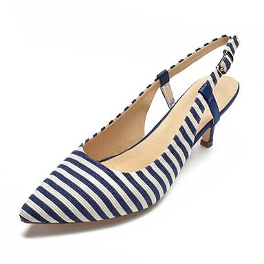 Printemps Basique Heel été Rayé Kitten Noir Chaussures Bleu Bout 06805127 Sandales Escarpin Femme Coton pointu AEgOXxwOq