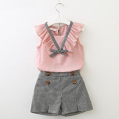 Djeca Djevojčice Karirani uzorak Kratkih rukava Komplet odjeće