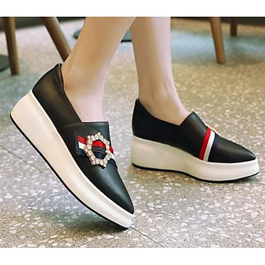 et Cuir Mocassins Nappa Chaussures Chaussons Noir Automne Creepers Confort D6148 Femme Printemps Blanc 06835393 YSA0Tq55w