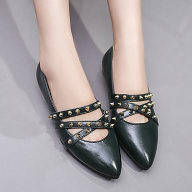 Verano 06818485 Ejército Mujer Bailarinas Puntiagudo Verde Zapatos Confort Remache PU Dedo Plano Tacón Negro HWHEqOr