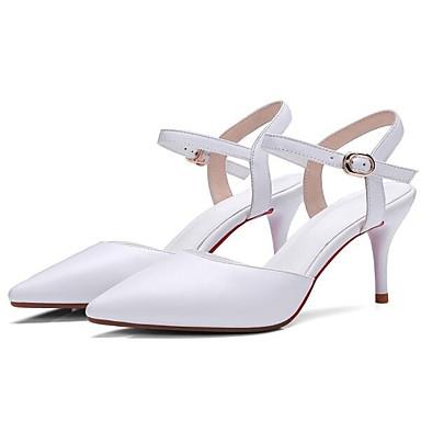 06833339 Confort Chaussures Nappa Aiguille Sandales Eté Cuir Talon Noir Femme Blanc qB1vOwRa