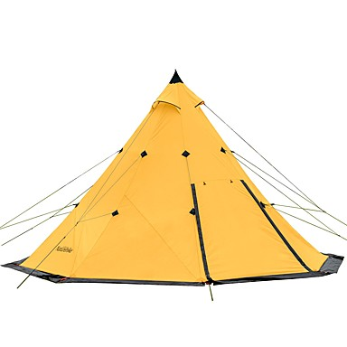 Naturehike 8 person Bell Tent Glamping Tent Outdoor Lightweight Windproof Rain Waterproof Double Layered Poled Camping Tent 2000-3000 mm for Camping / Hiking / Caving Traveling Picnic Oxford Cloth