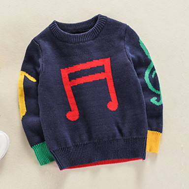 baratos Suéteres & Cardigans para Meninos-Infantil Para Meninos Básico Sólido Manga Longa Suéter & Cardigan Azul