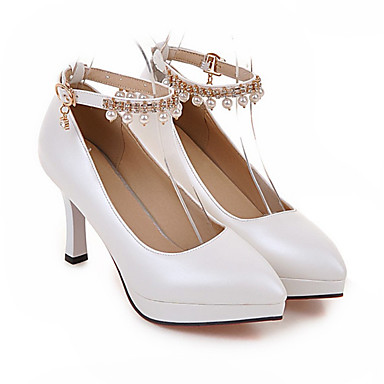 2a97e873990 Women s Party Heels PU(Polyurethane) Summer Mary Jane Heels Chunky Heel  Pointed Toe Imitation Pearl White   Black   Pink   Party   Evening   Daily    Party   ...