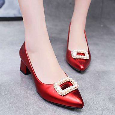 Verano Plateado Negro Dedo Mujer Pump Puntiagudo Básico Zapatos Tacones Tacón Cuadrado Rojo PU 06837008 TAqApPwxE