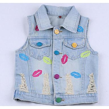 halpa Tyttöjen takit-Lapset Tyttöjen Perus Painettu Hihaton Normaali Liivi Vaalean sininen