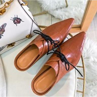 06791358 Noir Nappa Printemps amp; Cuir Mules Kitten Sabot Chaussures Femme Confort Marron Heel qB6vn7wxZ