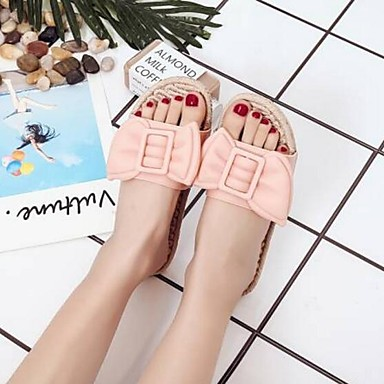 Žene Cipele PVC Proljeće ljeto Udobne cipele Papuče i japanke Ravna potpetica Otvoreno toe Obala / Crvena / Pink