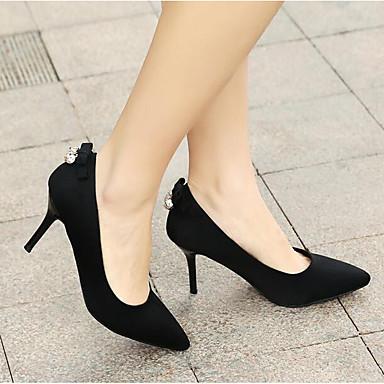 Verano 06791262 Tacón Ante Negro Zapatos Mujer Punta Stiletto Rojo Confort Tacones cerrada wgTxEq
