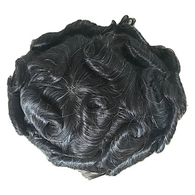 povoljno Perike i ekstenzije-Muškarci Ljudska kosa Tupe Wavy 100% rađeno rukom Nježno