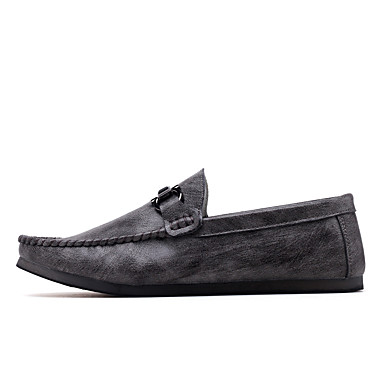 Men's Moccasin PU(Polyurethane) Spring Slip-Ons / Summer Loafers & Slip-Ons Spring White / Black / Gray 7a747a