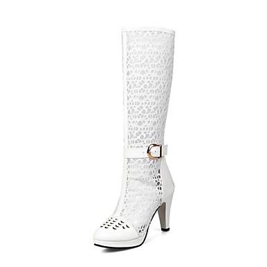 06796538 Bottes Bottes à Noir Femme Matière Blanc Mode Bout amp; Talon synthétique Chaussures rond Automne Soirée Bottes Evénement Cône la hiver YwR16zwaq