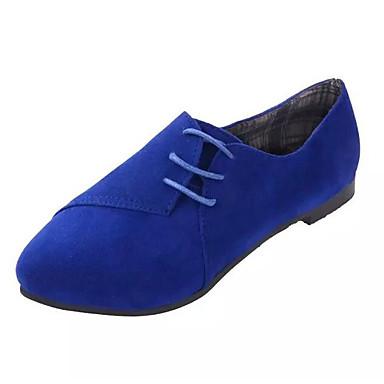 Žene Cipele PU Proljeće ljeto Udobne cipele Ravne cipele Ravna potpetica Okrugli Toe Drapirano sa strane Bijela / Crvena / Plava