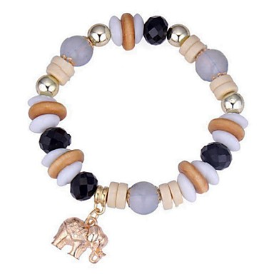 abordables Bracelet-Bracelet à Perles Femme Classique Résine Eléphant dames Rétro Vintage Ethnique Mode Bracelet Bijoux Café Rouge Bleu pour Cérémonie Anniversaire