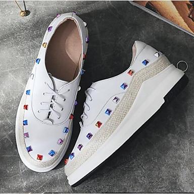 06833059 Cuir Printemps Eté Femme Confort Bout Talon Noir Chaussures Plat Blanc Basket Nappa fermé OwqR561