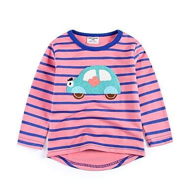 baratos Camisas para Meninos-Infantil Bébé Para Meninos Básico Diário Esportes Estampado Bordado Manga Longa Padrão Algodão Camiseta Rosa