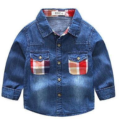 baratos Camisas para Meninos-Infantil Para Meninos Básico Diário Retalhos Patchwork Manga Longa Padrão Algodão Camisa Azul
