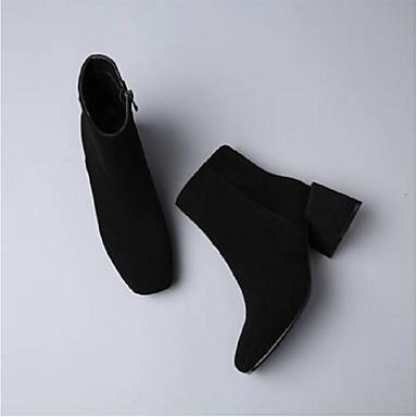 Femme Chaussures Daim Automne hiver Confort à Chaussures à Confort Talons Block Heel Noir / Marron 83ad0e