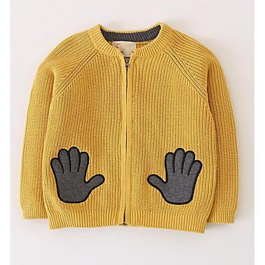 baratos Suéteres & Cardigans para Meninos-Infantil Para Meninos Moda de Rua Geométrica Manga Longa Suéter & Cardigan Amarelo