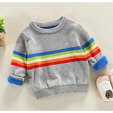 baratos Suéteres & Cardigans para Meninos-Infantil Para Meninos Básico Listrado Manga Longa Padrão Suéter & Cardigan Azul Marinha