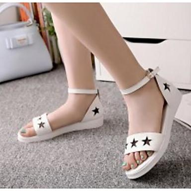Chaussures Sandales Femme Eté Bas Talon 06776675 Confort Noir Blanc Cuir dwSIxqSZ