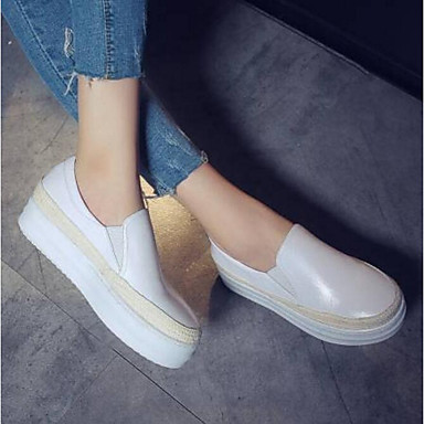 Women's Shoes Nappa Leather Fall & Winter Comfort Heel Loafers & Slip-Ons Flat Heel Comfort Closed Toe White / Black c23816