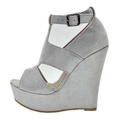 Daim Chaussures de Sandales Gris compensée Confort 06831205 Eté Femme semelle Hauteur 65wdBqWx