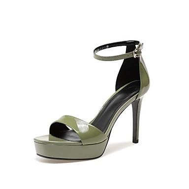 Žene Cipele Mekana koža Ljeto Udobne cipele Sandale Stiletto potpetica Otvoreno toe Kopča Obala / Crn / Zelen