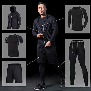 Muškarci Joga odijelo - Crn, Sive boje, Rough Black Sportski Jakna / Kompresivna odjeća / Tajice Trčanje, Fitness, Gimnastika Odjeća za rekreaciju Prozračnost, Quick dry Visoka elastičnost