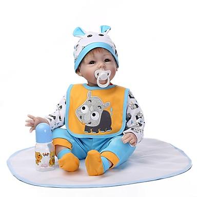 זול בובה מחדש-NPKCOLLECTION NPK DOLL בובה מחדש תינוקות בנים 24 אִינְטשׁ יָלוּד כְּמוֹ בַּחַיִים מתנה בטוח לשימוש ילדים אינטראקציה בין הורים לילד יד מושרשת הילד של בנים / בנות צעצועים מתנות / ריסים ידניים