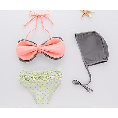cheap Girls' Swimwear-Kids Toddler Girls' Daily Solid Colored Polka Dot Sleeveless Swimwear Blushing Pink