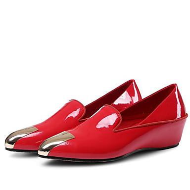 Blanc compensée D6148 Rouge Chaussures Verni Hauteur de pointu 06776284 semelle Confort Femme et Noir Mocassins Eté Chaussons Bout Cuir Bgq7wZ