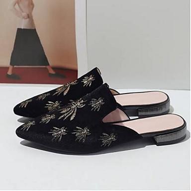 Polyuréthane Noir Fausse Bout Eté Printemps Chaussures Femme Rose 06834829 Confort Rouge amp; Sabot Plat Talon Fourrure fermé Mules qAx6xgwBt