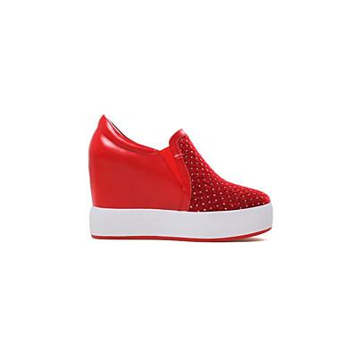 06840384 Chaussons Mocassins et Cuir D6148 Noir Nappa Creepers Rouge Chaussures Confort Printemps Femme été YfOwH88