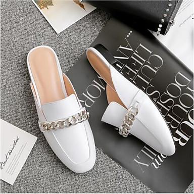 Nappa Noir Bout Mules Chaussures Sabot Cuir Plat Blanc Talon amp; Confort Eté fermé Femme Printemps 06835465 1BTqE6x