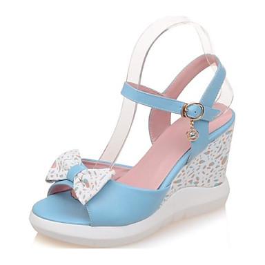 7dff4de691a5af ... Rose 06797555 Sandales Escarpin Bleu compensée Hauteur Chaussures  Microfibre Eté Basique Blanc de Femme semelle Confort