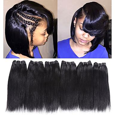 baratos Extensão de Cabelo Humano Natural-Cabelo Remy weave do cabelo Melhor qualidade / Nova chegada / Para Mulheres Negras Cabelo Indiano Comprimento médio 300 g Mais de 1 ano Palco / Carnaval / Festa de Casamento