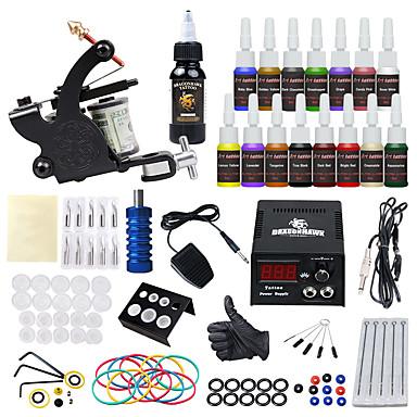 Tattoo Machine Starter Kit - 1 pcs Tattoo Machines s 15*5 ml tetovaža tinte, Sigurnost, Ucelo, Jednostavno za postavljanje Legura LCD napajanja 1 x aluminijski tetovaža stroj za obloge i sjenčanje