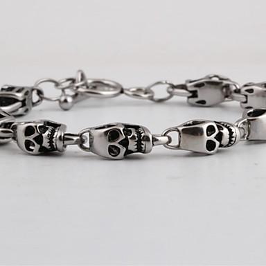 voordelige Herensieraden-Heren Vintage Armbanden Retro Schedel Creatief Statement Punk Titanium Staal Armband sieraden Zilver Voor Straat Club