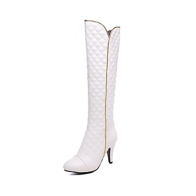 849fe69eb5d5 Women's Shoes Faux Leather Winter Fashion Boots Boots Cone Heel Round Toe Knee  High Boots White / Black / Red / Party & Evening