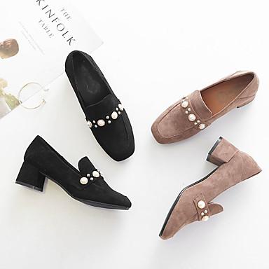 Zapatos y Negro Mujer Dedo Tacón Caqui Pump 06833067 Verano de Zapatos Cuadrado On bajo Básico Slip cuadrada PU taco awzXa