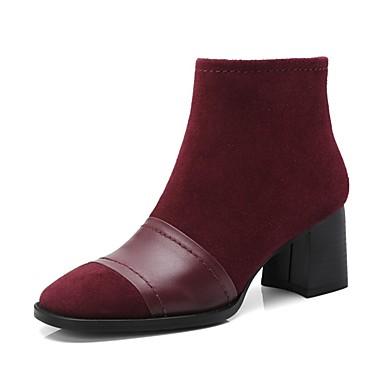 Rouge 06818546 Bottier Bottes Chaussures Femme Daim Noir Automne Confort Amande hiver Talon Zx1xUqPzw
