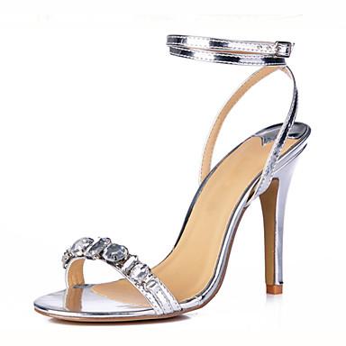 Žene Cipele PU Ljeto Remen oko gležnja Sandale Stiletto potpetica Otvoreno toe Štras / Kopča Zlato / Srebro / Zabava i večer