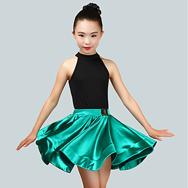 9f2ab616cd11 Latin Dance Outfits Girls' Performance Spandex Ruching Sleeveless Natural  Skirts / Leotard / Onesie