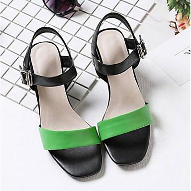 Jaune Heel Nappa Eté Basique Cuir Sandales Vert Block 06791338 Femme Chaussures Escarpin 7z6wO6
